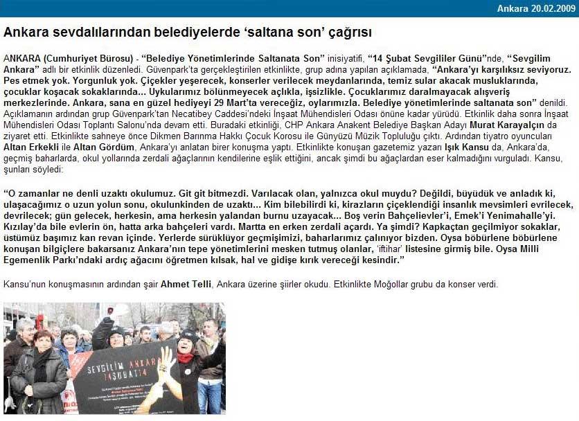 20 Ubat 2009 Cumhuriyet Ankara